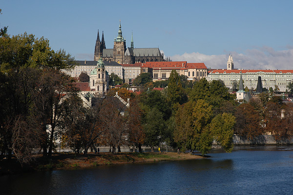 Prague Castle and St. Nicholas Church in autumn